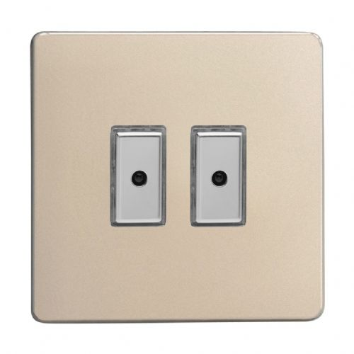 Varilight JDNE102S Screwless Satin Chrome 2 Gang V-Pro Remote/Touch Master LED Dimmer 0-100W